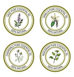 Set of essential oil labels sage vanilla vector