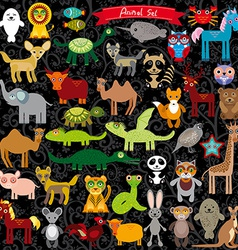 Set of funny cartoon animals character on black vector image