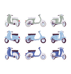 set of scooters in green turquoise blue colors vector image