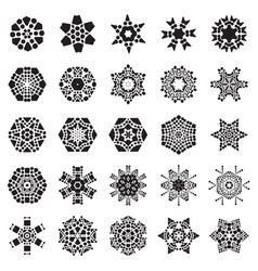 Set of simple snowflake icon isolated on white vector