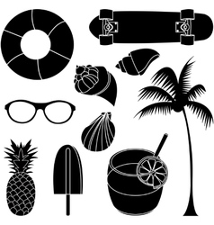 set of summer lovely things vector image vector image