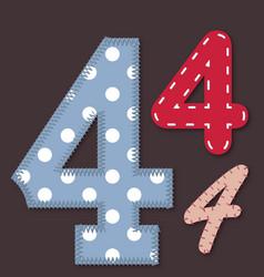 set stitched font - 4 four vector image