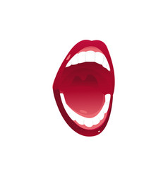 signing female mouth with white teeth and red lips vector image