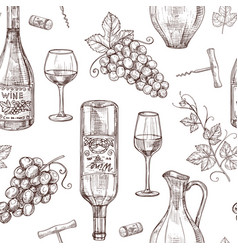 sketch wine seamless pattern wine bottles vector image