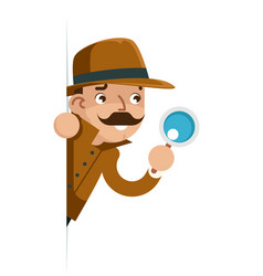 Snoop detective magnifying glass look peeking out vector