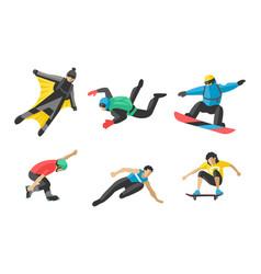 Snowboard jumping extreme athletes vector
