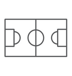 soccer field thin line icon sport and football vector image