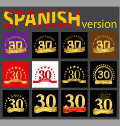 spanish set of number thirty 30 years vector image