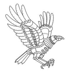 steam punk style crow coloring book vector image