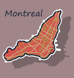 Sticker map of montreal is a city of canada with vector