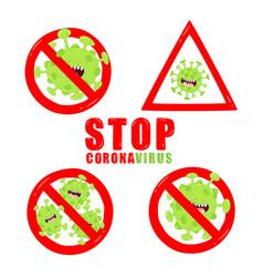 Stop corona viruses sign graphics use vector