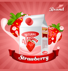 Strawberry yogurt ads splashing scene with vector
