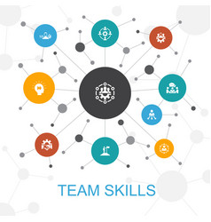 Team skills trendy web concept with icons vector