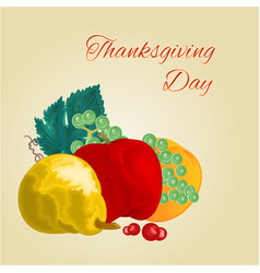 thanksgiving day fruits pear apple orange grape vector image