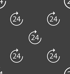 TIME 24 Icon sign Seamless pattern on a gray vector