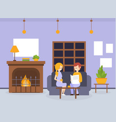 two young women sitting on sofas and ordering food vector image