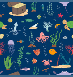 underwater life cartoon seamless pattern vector image