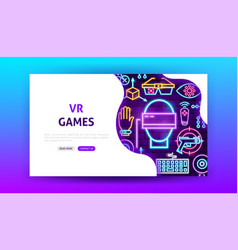 vr games neon landing page vector image