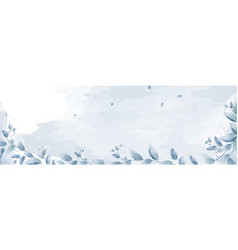 watercolor banner design with blue branches leaves vector image