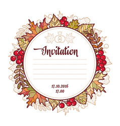 Wedding card template autumn background invitation vector