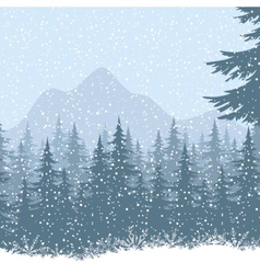 Winter mountain landscape with fir trees vector image