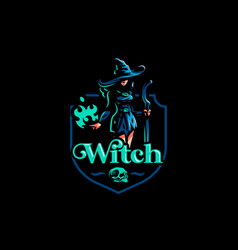 Woman witch with a magic broom vector