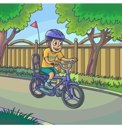 Young boy riding a bicycle on street vector image