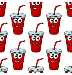 Cartoon takeaway beverage seamless pattern vector image