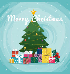 Christmas tree with gifts christmas greeting card vector