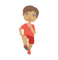 little boy running boy in motion front view a vector image vector image