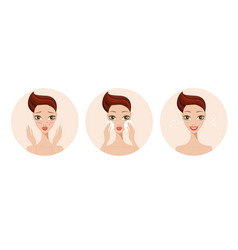 skincare and acne treatment steps girl applying vector image vector image