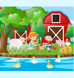 farm scene with kids planting tree vector image vector image