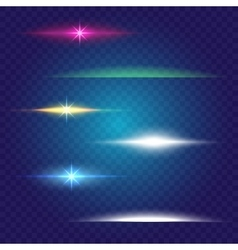 Linear glow light effect brushes set vector image vector image