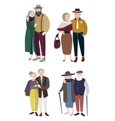 Senior couples in love relationships with aged vector