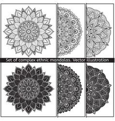 set of 6 hand-drawn mandala on white vector image