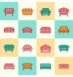 Sofa icon flat line vector image
