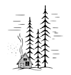 winter landscape with high fir trees vector image vector image