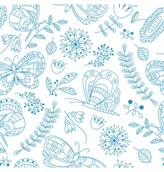 buterfly and beauty flowers seamless pattern vector image