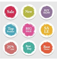 Colorful paper circle sticker label banner with vector image vector image