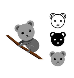 koala bear in flat and icon vector image vector image