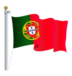 waving portugal flag isolated on a white vector image