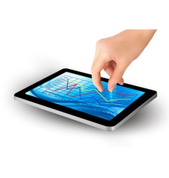 hand with tablet with graph vector image