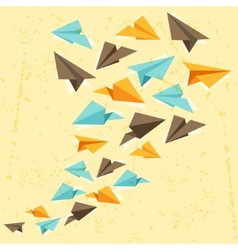 paper planes on the grunge background vector image vector image