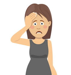 young woman having headache touching her forehead vector image vector image