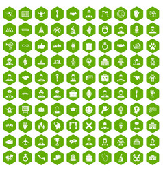 100 handshake icons hexagon green vector