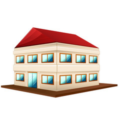 3d design for wide building with red roof vector