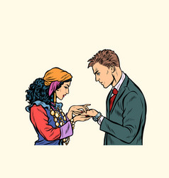 A gypsy telling fortunes by hand to businessman vector