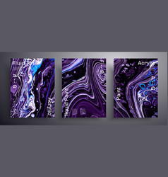 Abstract acrylic placard fluid art texture vector
