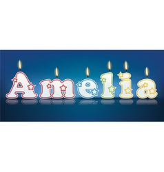 Amelia written with burning candles vector