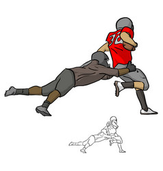 american football players tackling opposing vector image